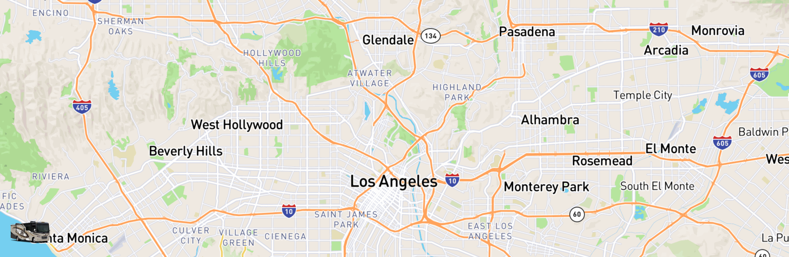 Class A RV Rentals Map Los Angeles, CA