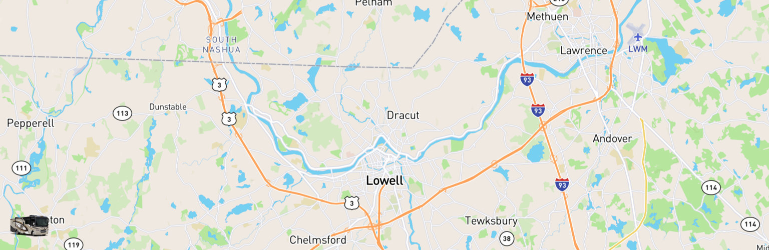 Class A RV Rentals Map Lowell, MA