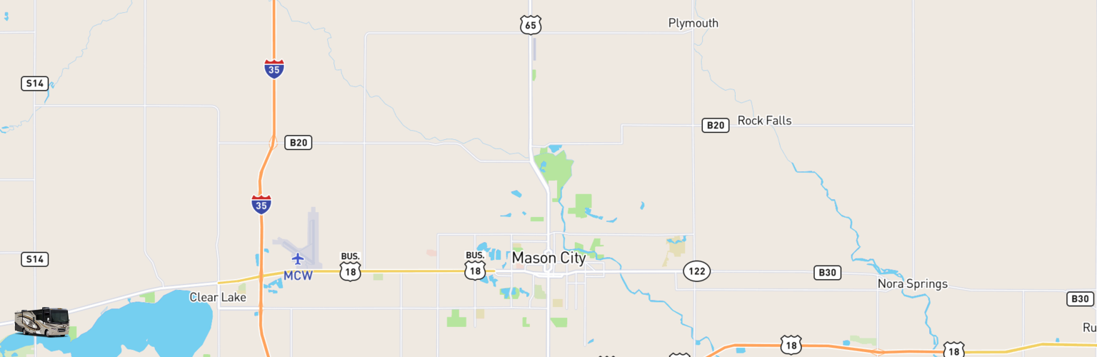 Class A RV Rentals Map Mason City, IA