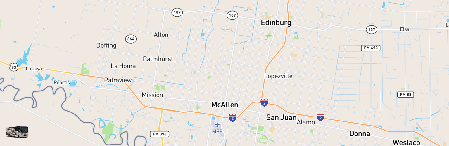 Class A RV Rentals Map Mcallen Edinburg, TX