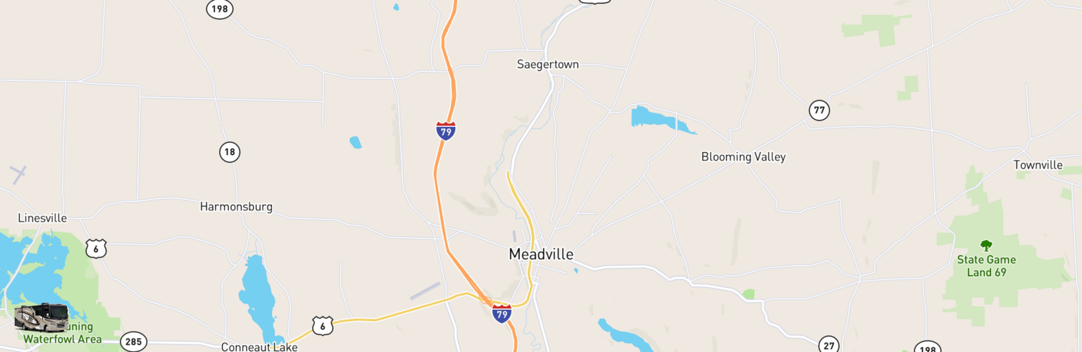 Class A RV Rentals Map Meadville, PA
