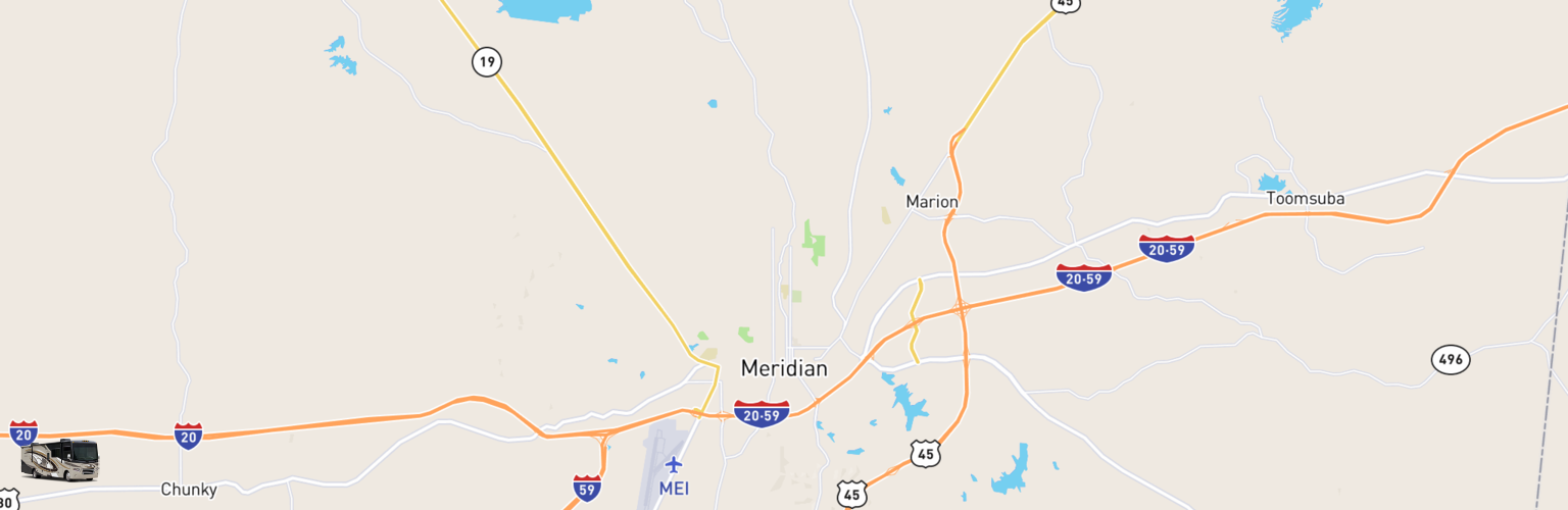 Class A RV Rentals Map Meridian, MS