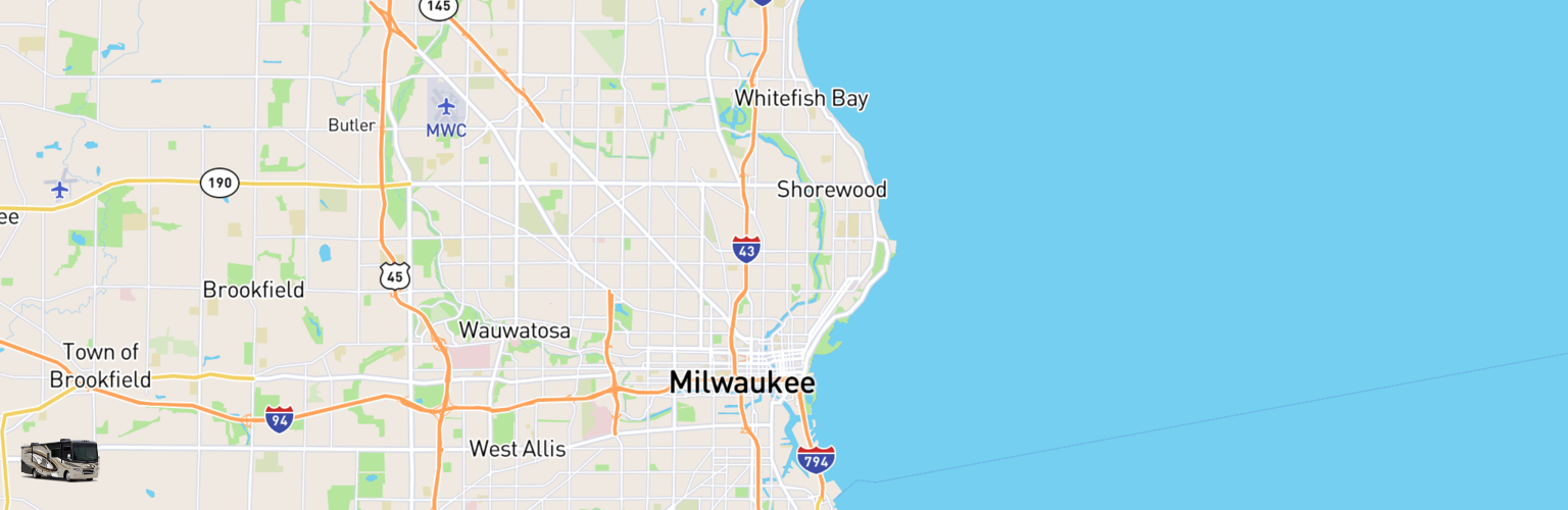 Class A RV Rentals Map Milwaukee, WI