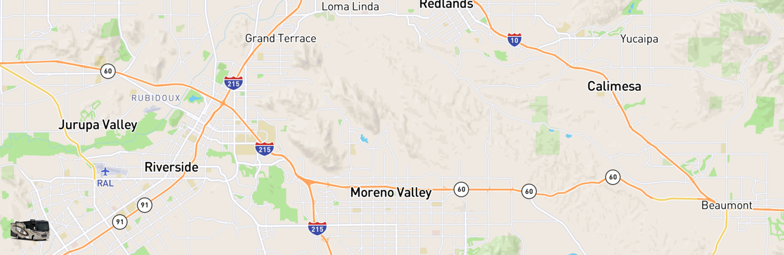 Class A RV Rentals Map Moreno Valley, CA