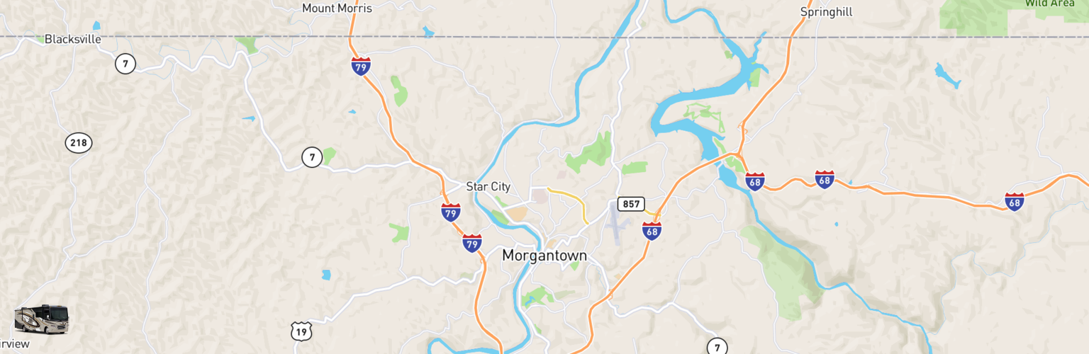 Class A RV Rentals Map Morgantown, WV