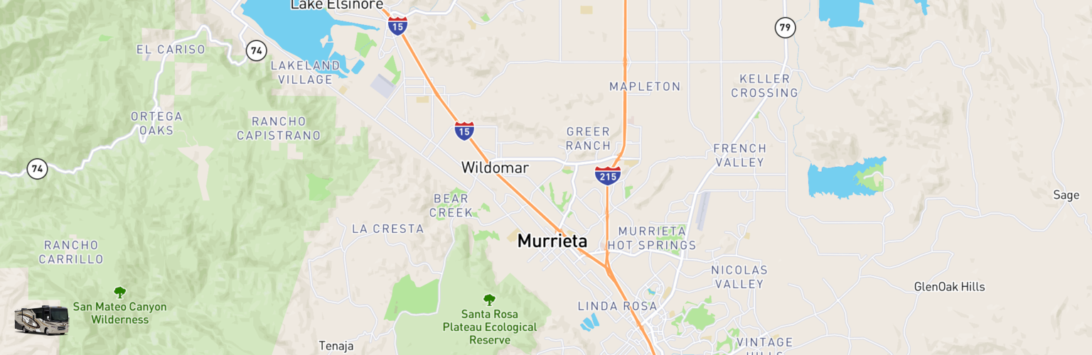 Class A RV Rentals Map Murrieta, CA