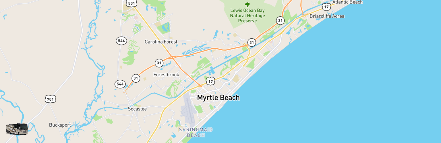 Class A RV Rentals Map Myrtle Beach, SC