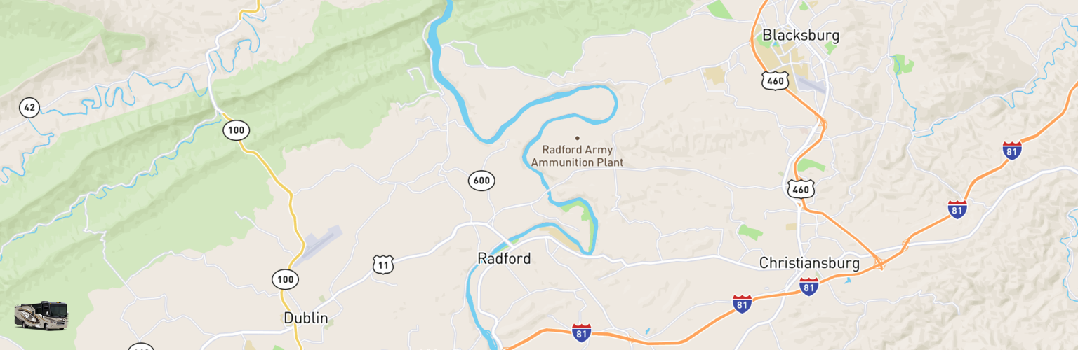 Class A RV Rentals Map New River Valley, VA