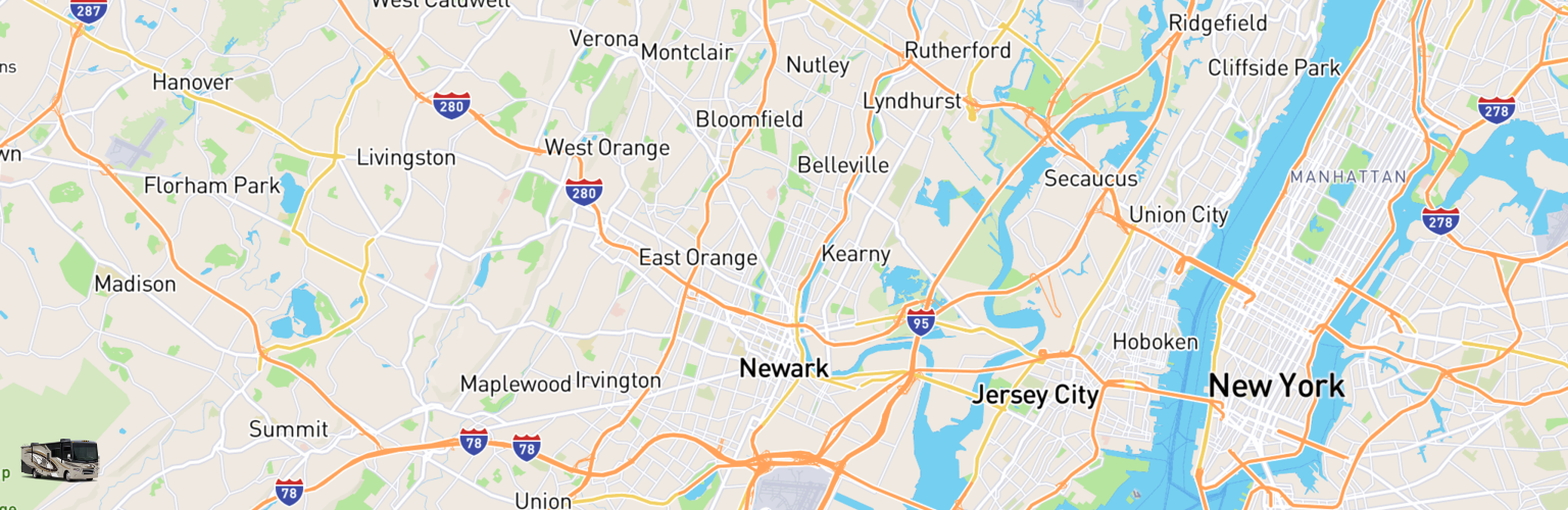 Class A RV Rentals Map Newark, NJ
