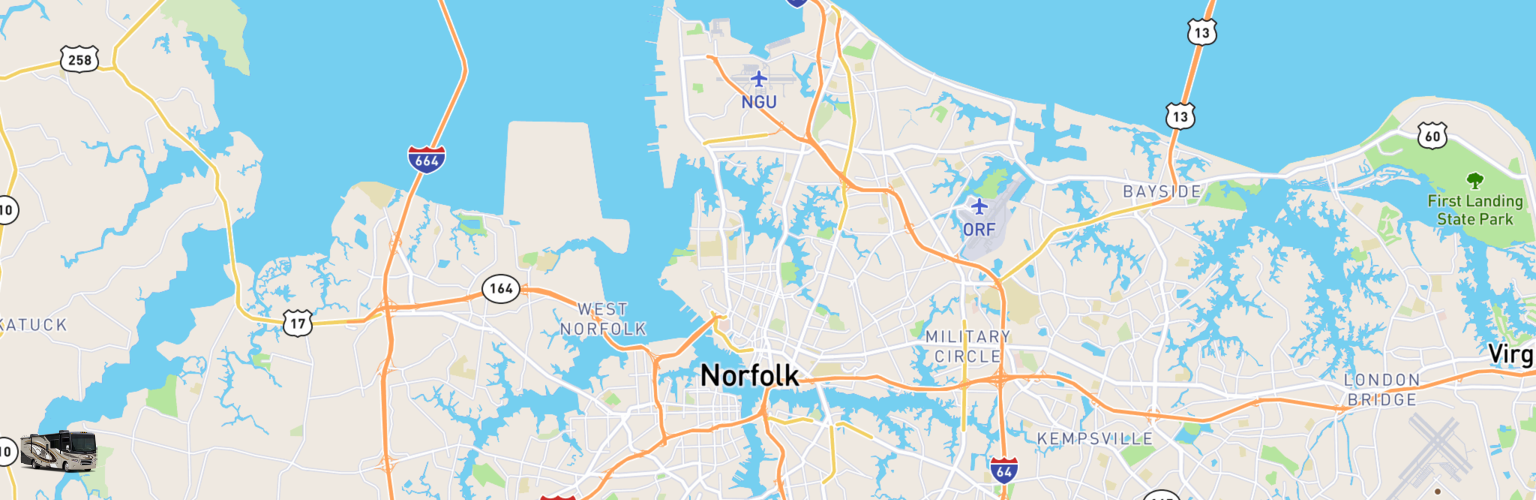 Class A RV Rentals Map Norfolk, VA