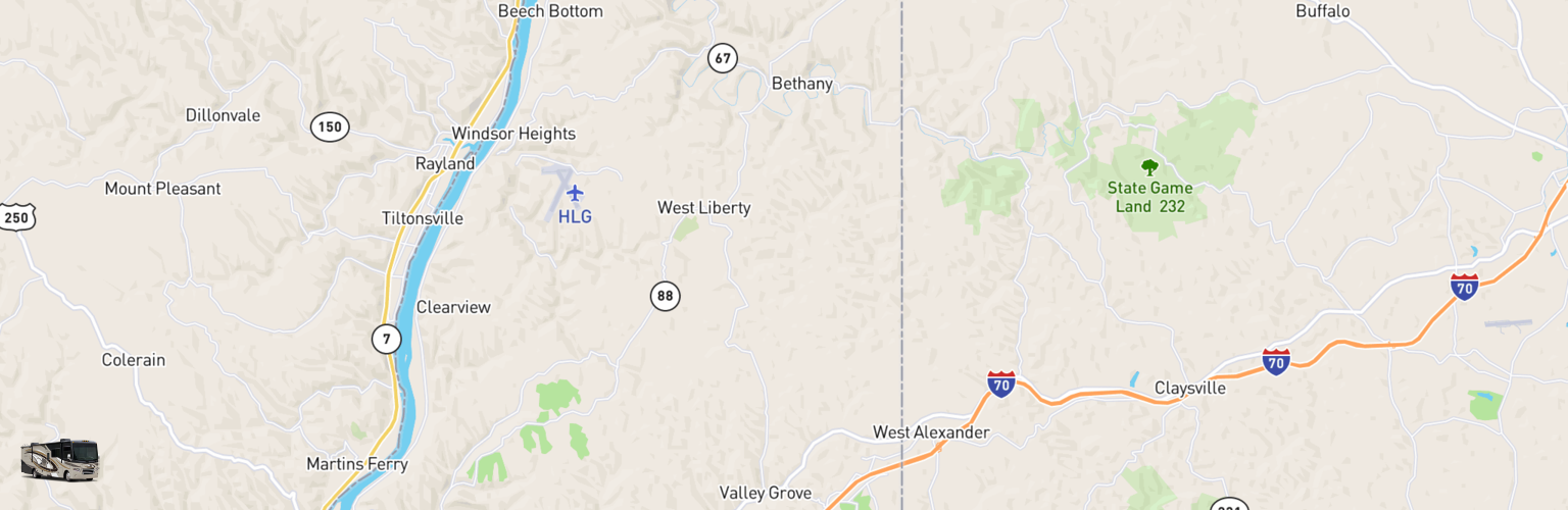 Class A RV Rentals Map Northern Panhandle, WV