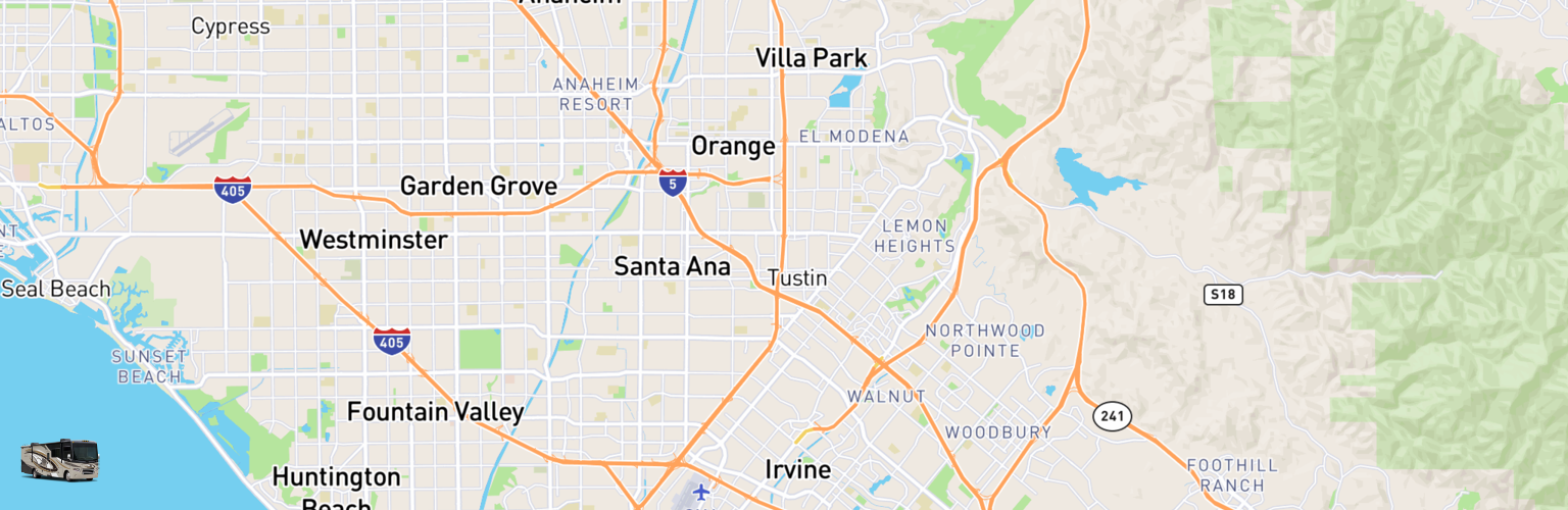 Class A RV Rentals Map Orange County, CA