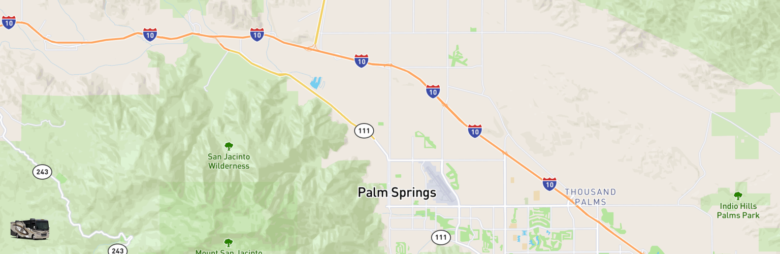 Class A RV Rentals Map Palm Springs, CA