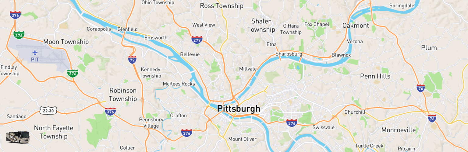Class A RV Rentals Map Pittsburgh, PA