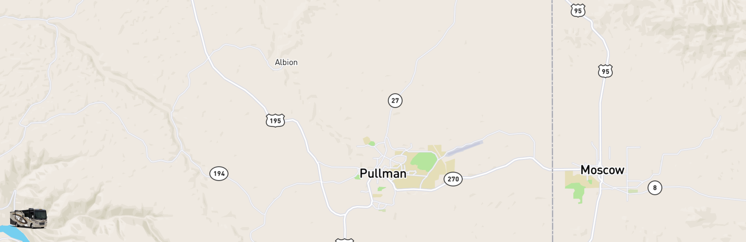 Class A RV Rentals Map Pullman Moscow, WA