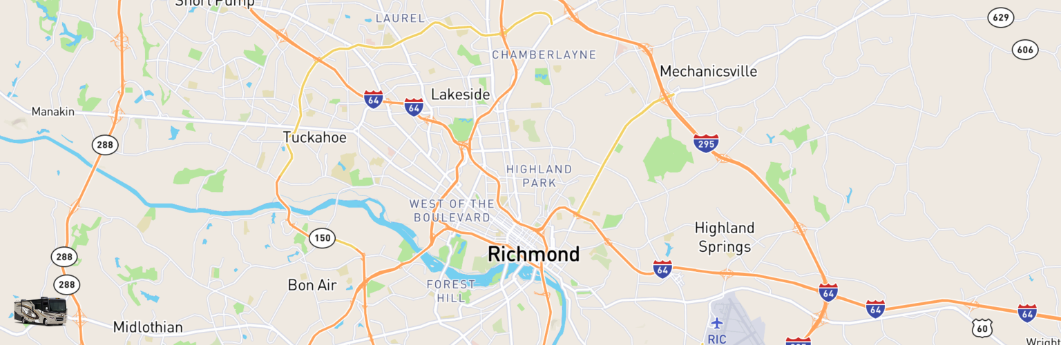 Class A RV Rentals Map Richmond, VA