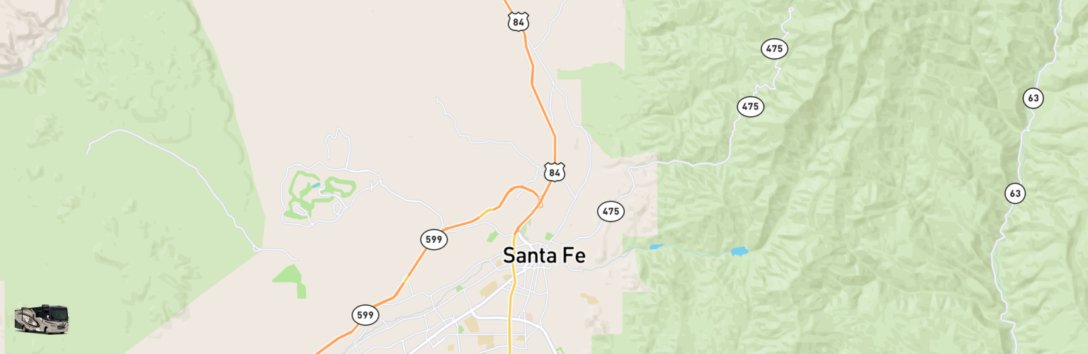 Class A RV Rentals Map Santa Fe, NM