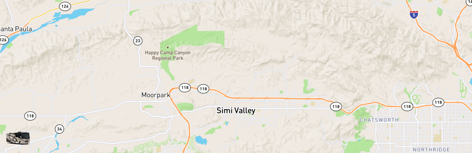 Class A RV Rentals Map Simi Valley, CA