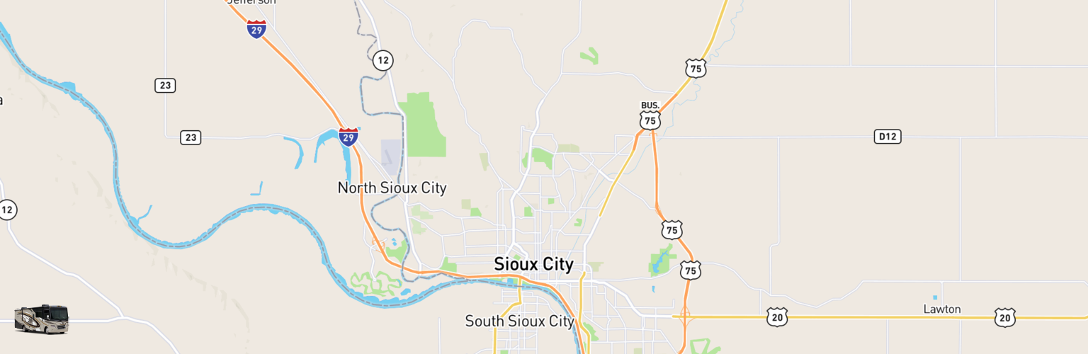 Class A RV Rentals Map Sioux City, IA