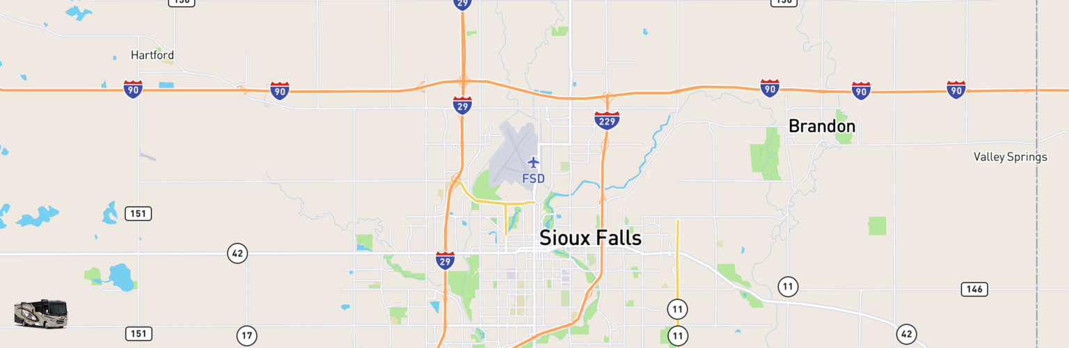 Class A RV Rentals Map Sioux Falls, SD