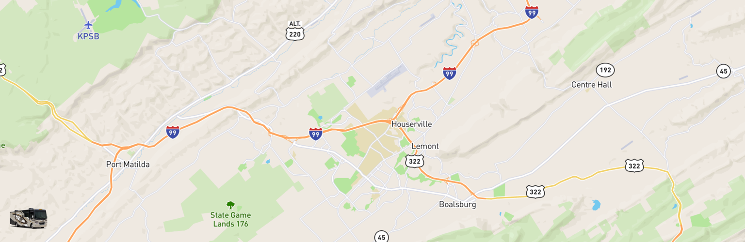 Class A RV Rentals Map State College, PA