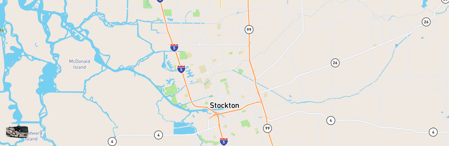 Class A RV Rentals Map Stockton, CA