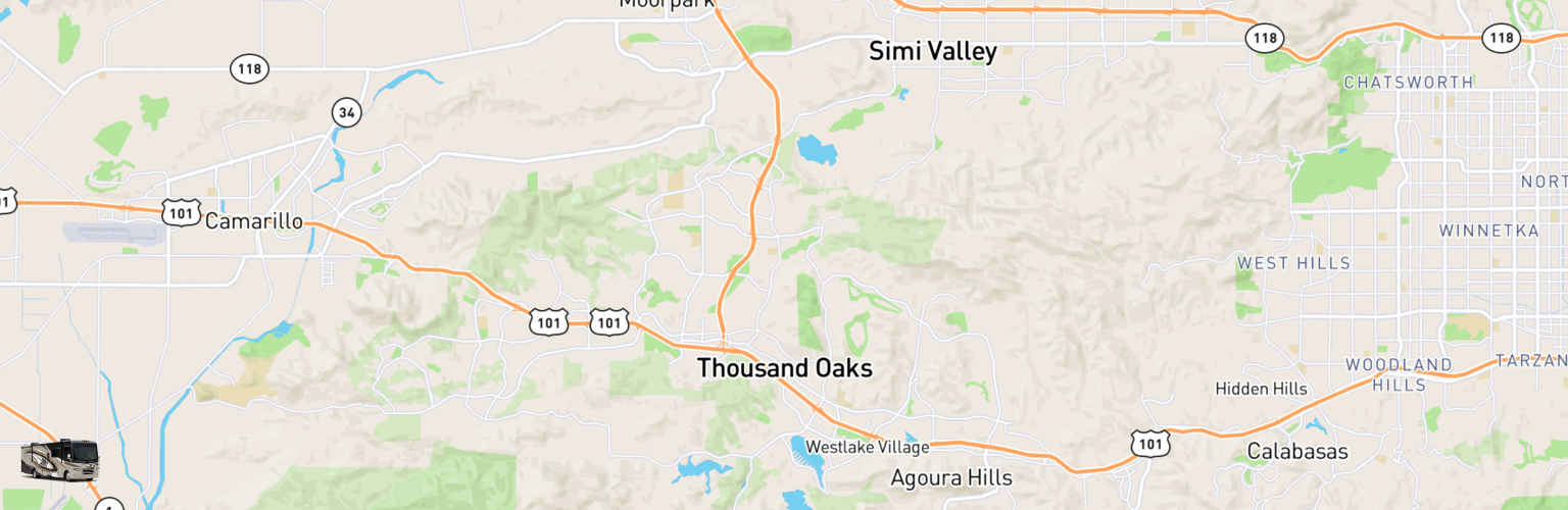 Class A RV Rentals Map Thousand Oaks, CA