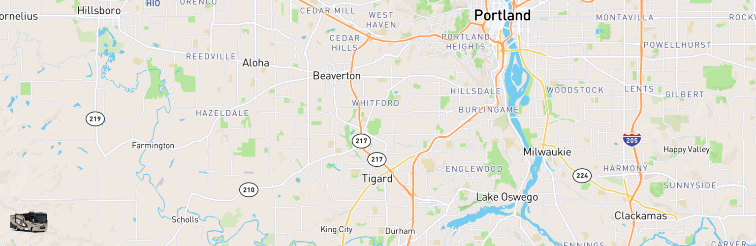 Class A RV Rentals Map Tigard, OR
