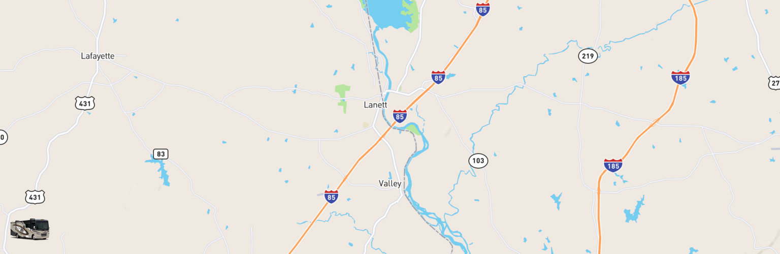 Class A RV Rentals Map Valley, AL