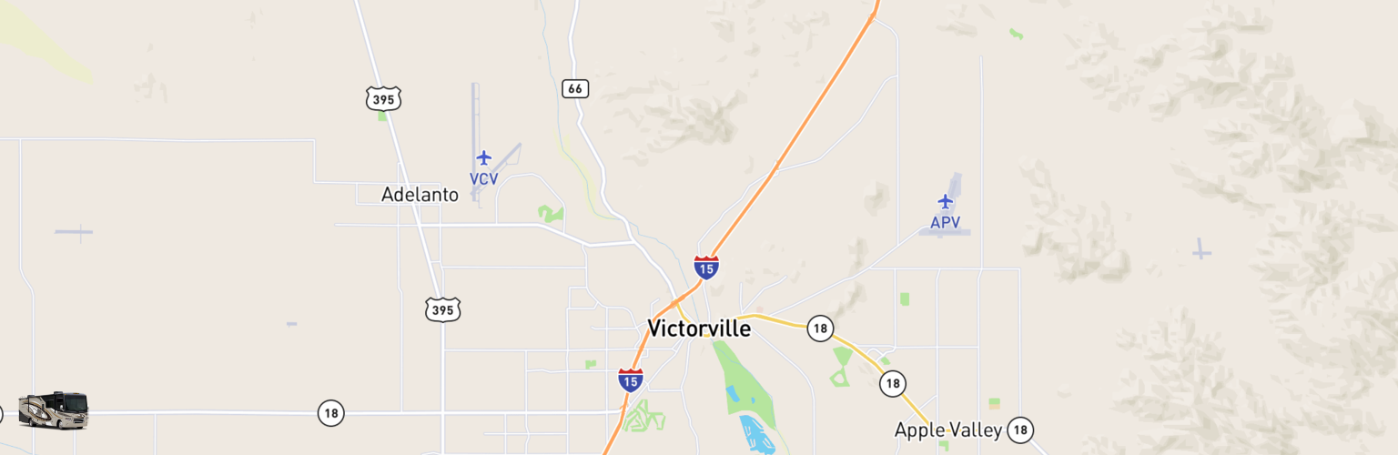 Class A RV Rentals Map Victorville, CA