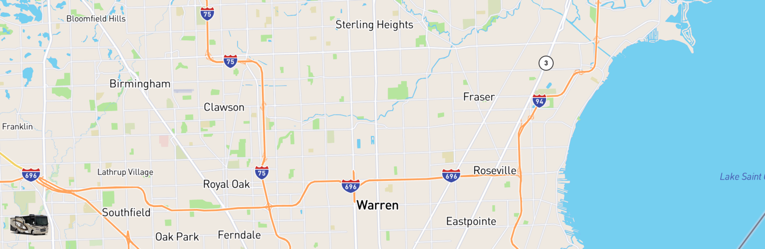 Class A RV Rentals Map Warren, MI