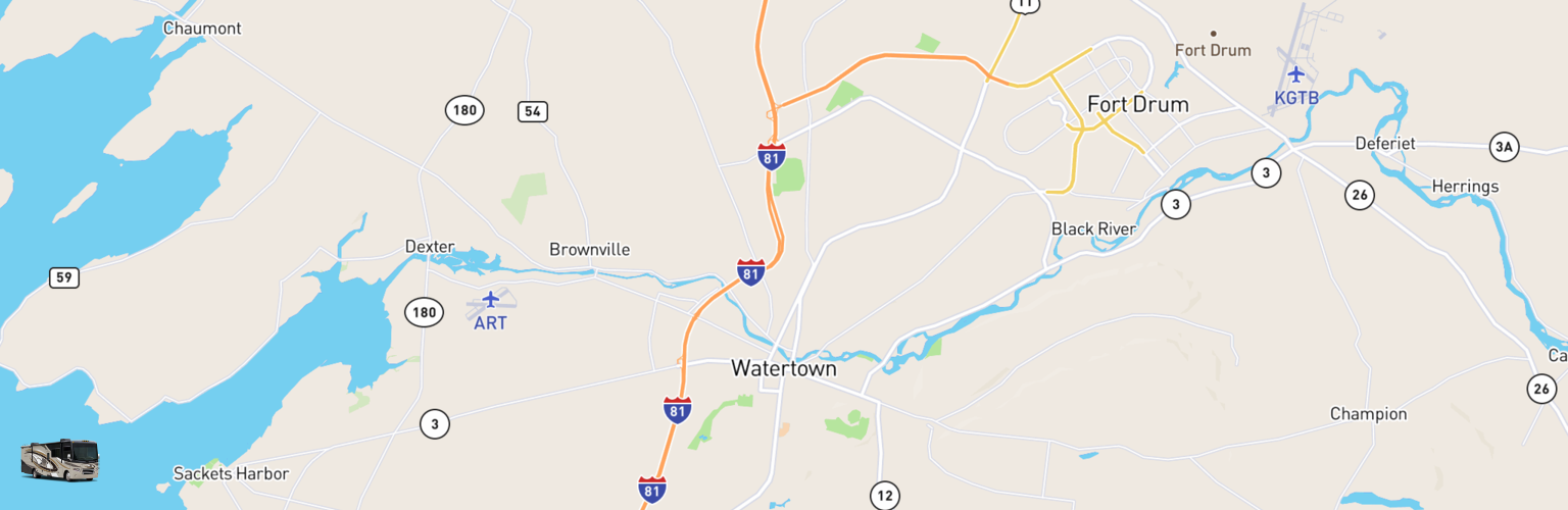 Class A RV Rentals Map Watertown, NY