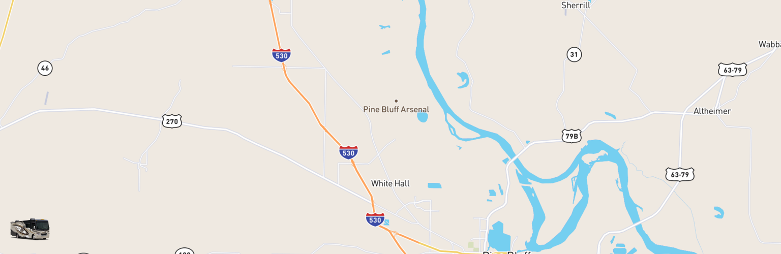 Class A RV Rentals Map White Hall, AR