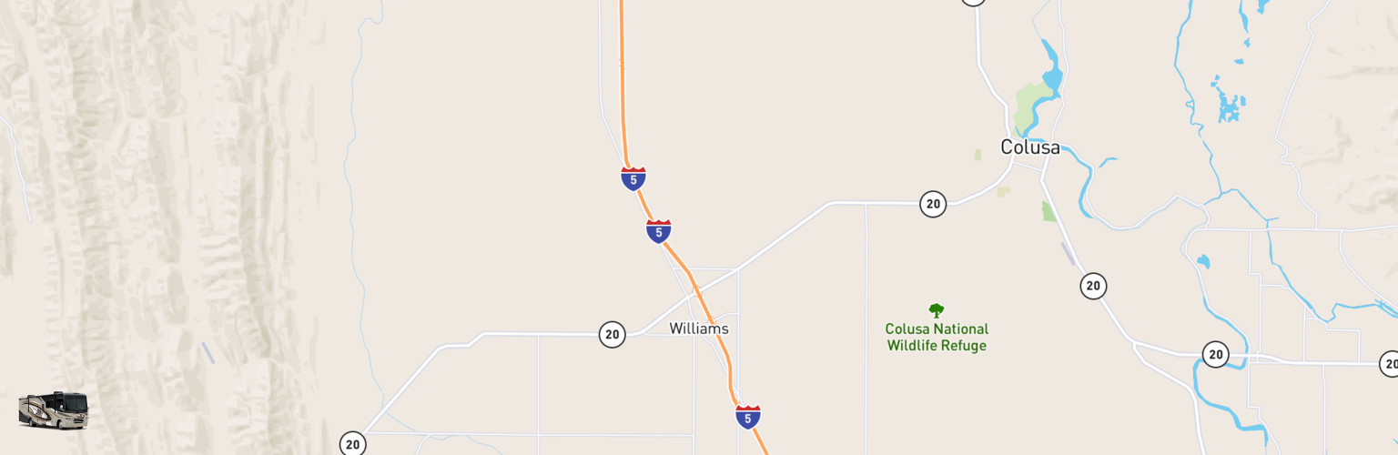 Class A RV Rentals Map Williams, CA