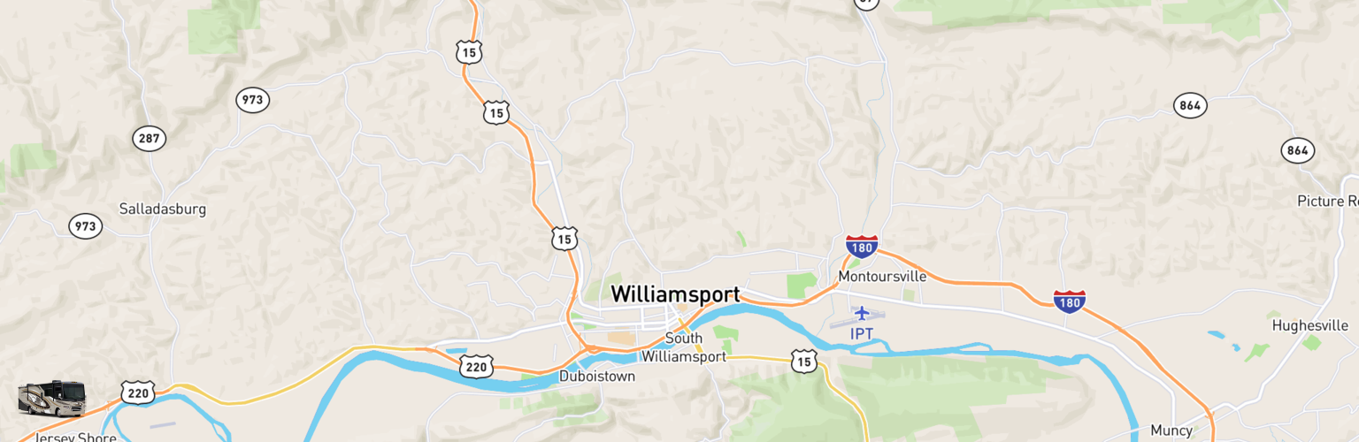 Class A RV Rentals Map Williamsport, PA
