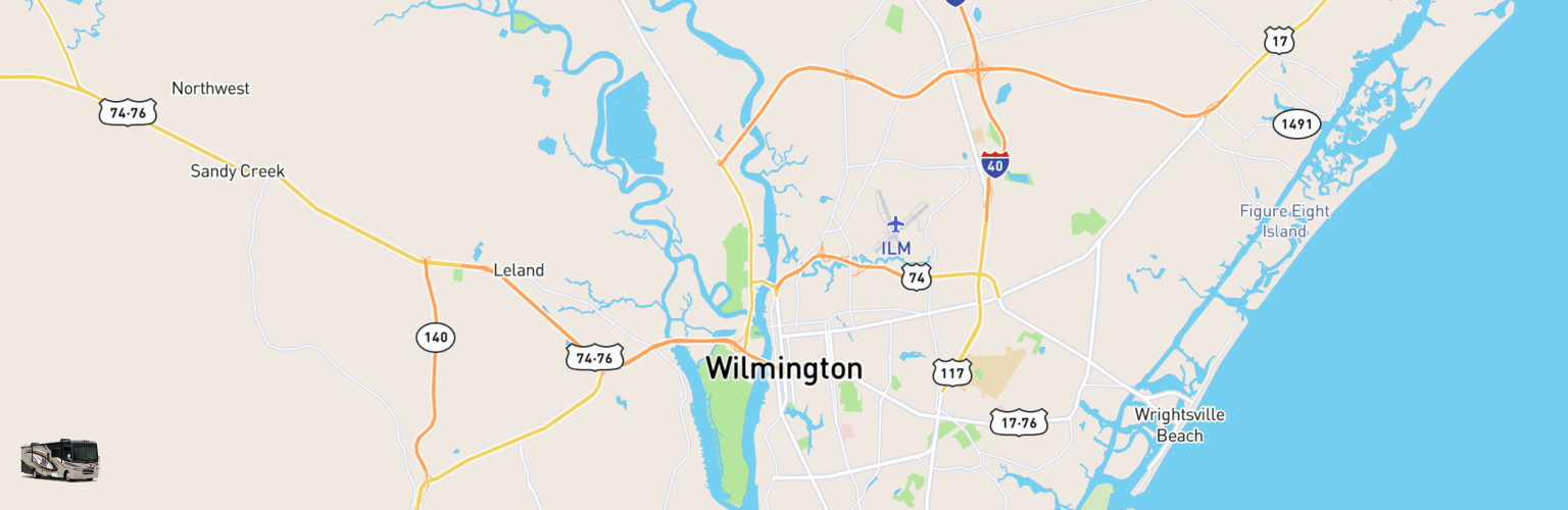 Class A RV Rentals Map Wilmington, NC