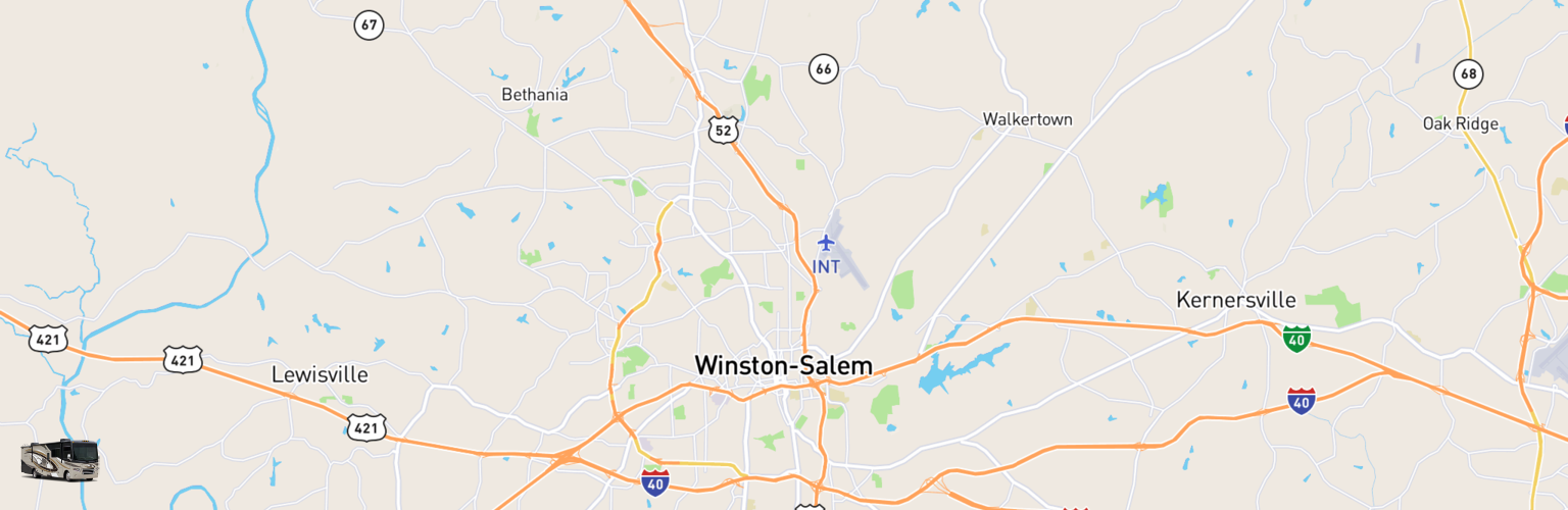 Class A RV Rentals Map Winston Salem, NC