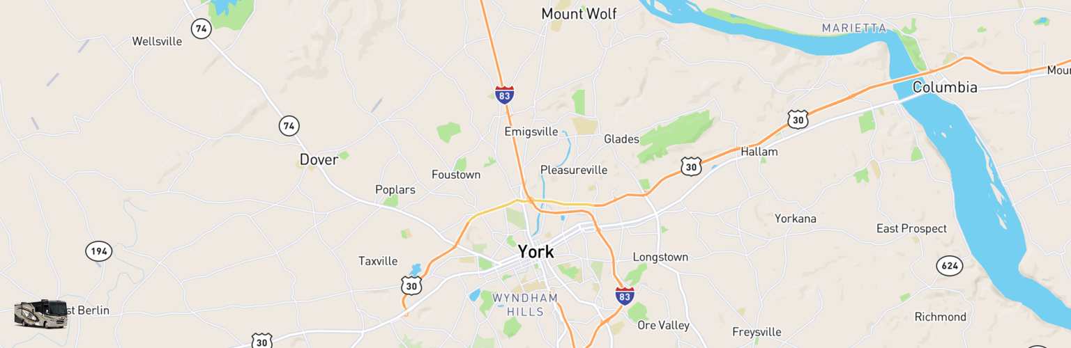 Class A RV Rentals Map York, PA