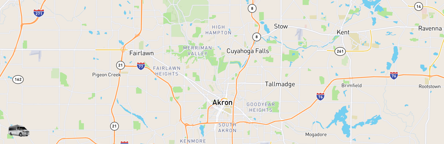 Class B RV Rentals Map Akron, OH