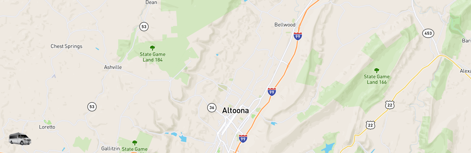 Class B RV Rentals Map Altoona Johnstown, PA