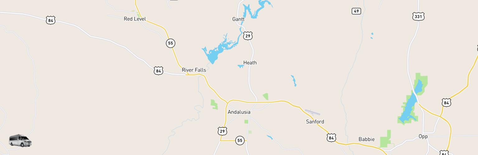 Class B RV Rentals Map Andalusia, AL