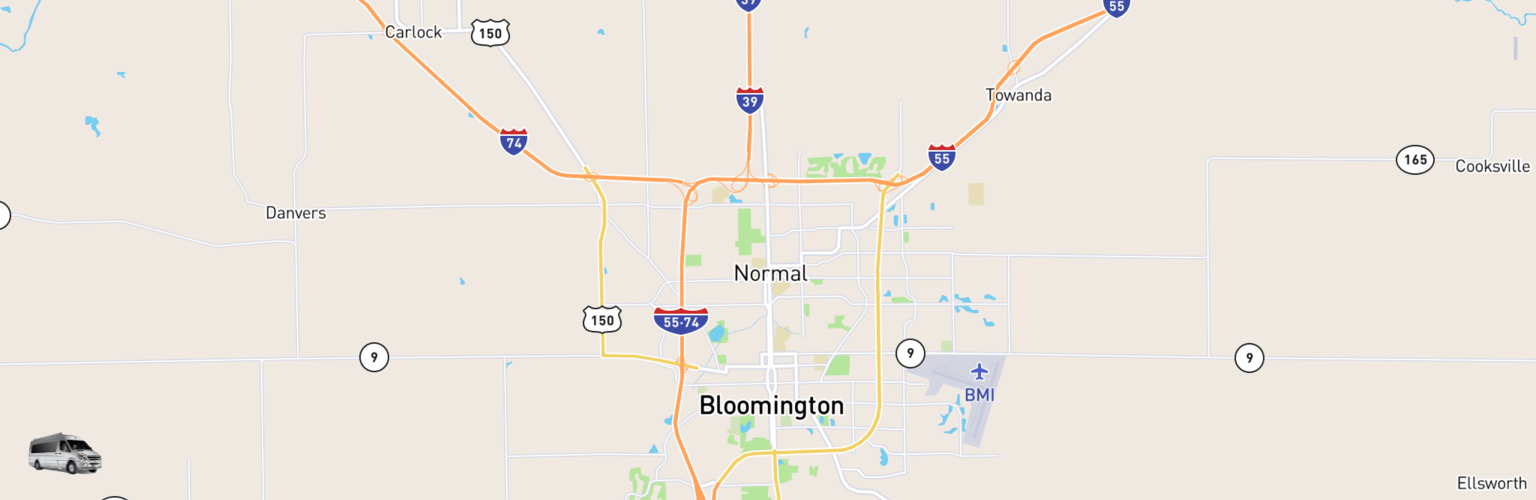 Class B RV Rentals Map Bloomington Normal, IL