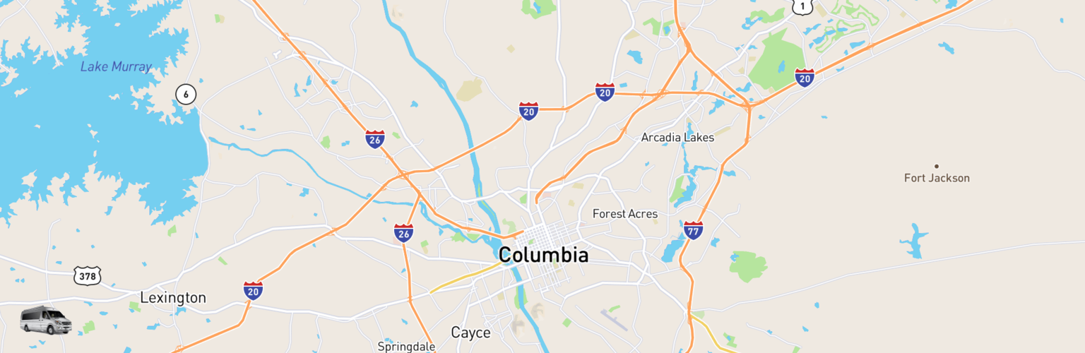 Class B RV Rentals Map Columbia, SC