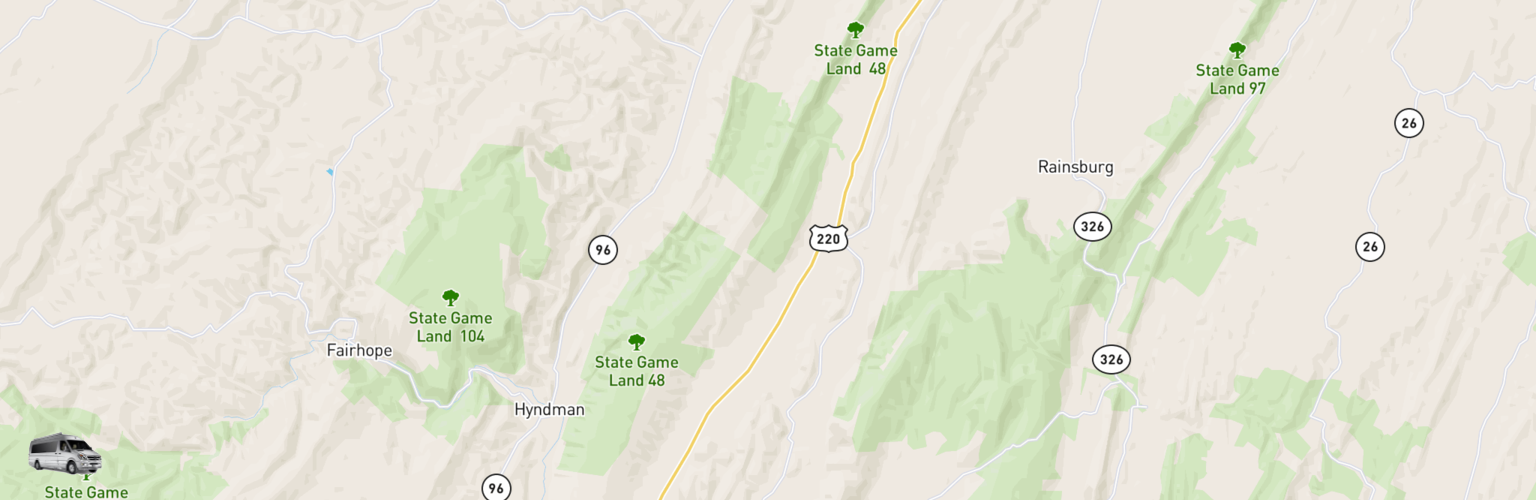 Class B RV Rentals Map Cumberland Valley, PA