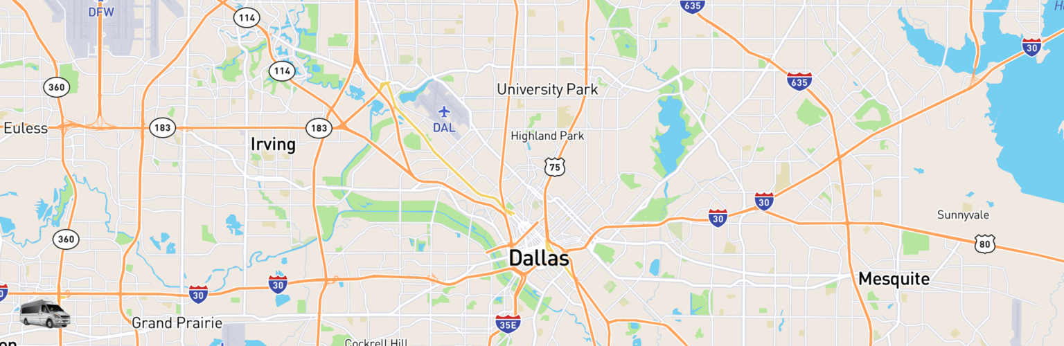 Class B RV Rentals Map Dallas, TX