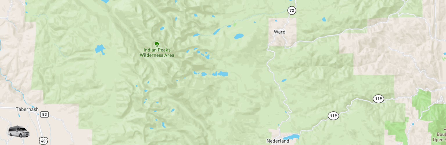Class B RV Rentals Map Eastern Slope, CO