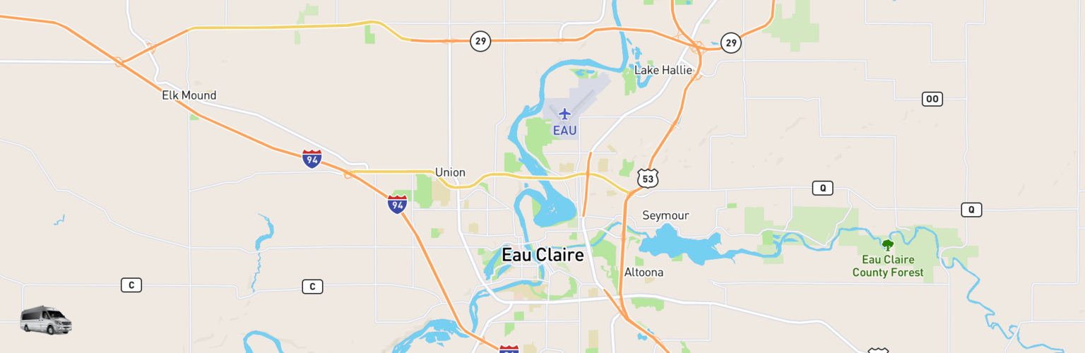 Class B RV Rentals Map Eau Claire, WI