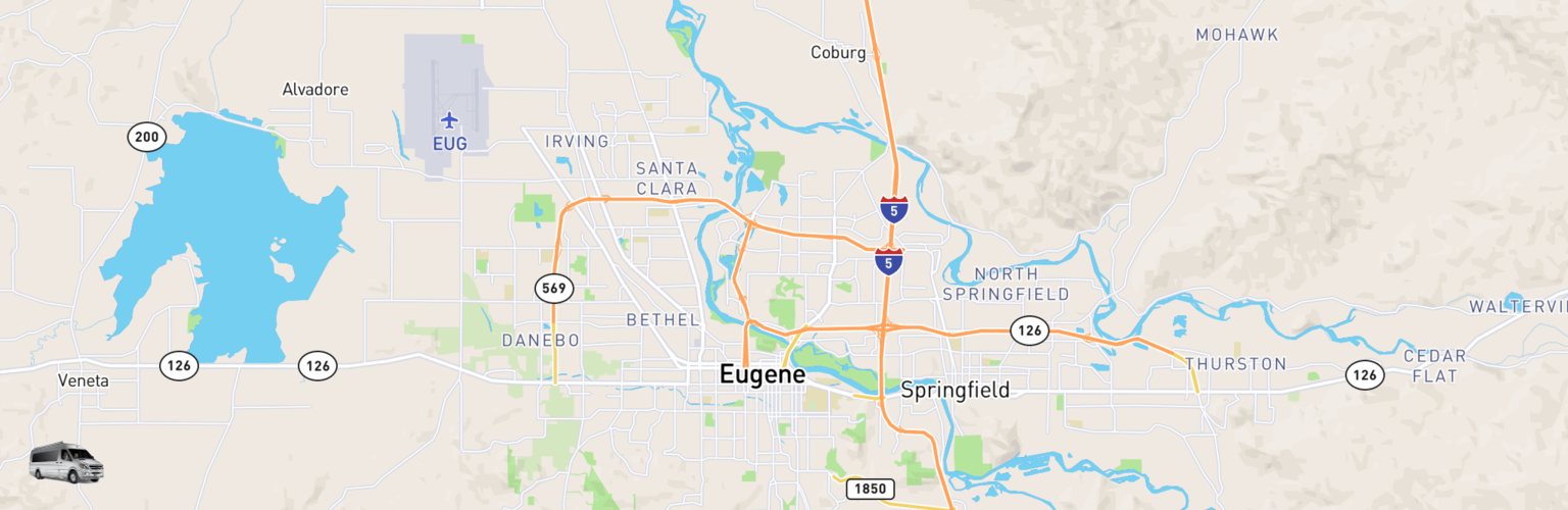 Class B RV Rentals Map Eugene, OR