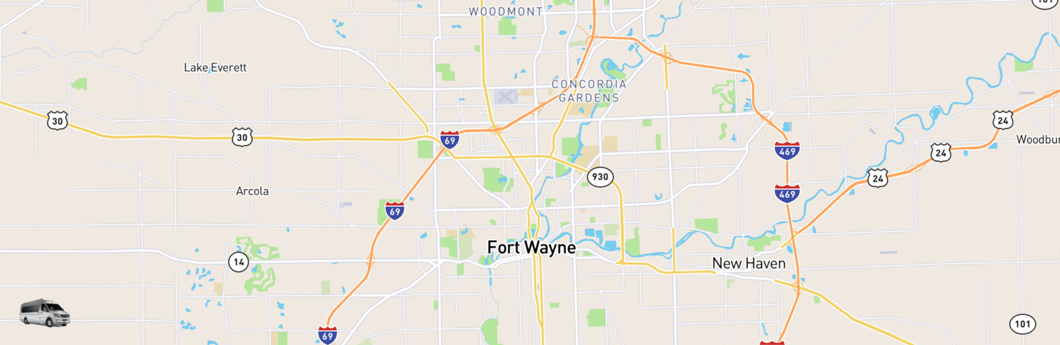 Class B RV Rentals Map Fort Wayne, IN