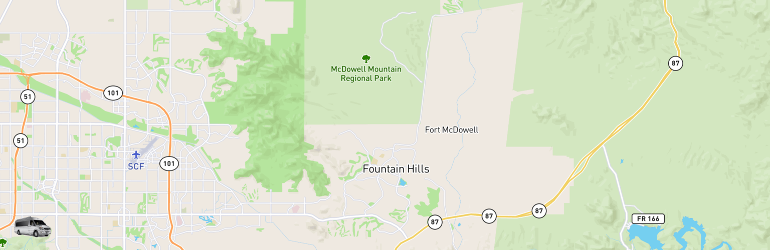 Class B RV Rentals Map Fountain Hills, AZ
